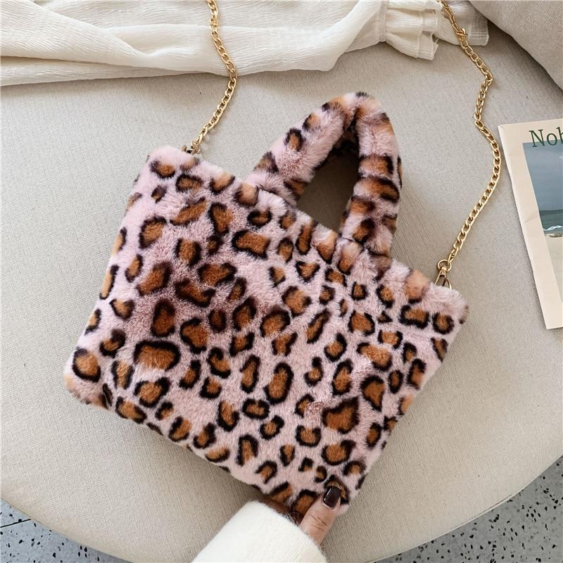 Winter new fashion shoulder bag female leopard female bag chain large plush winter handbag Messenger bag soft warm fur bag 9