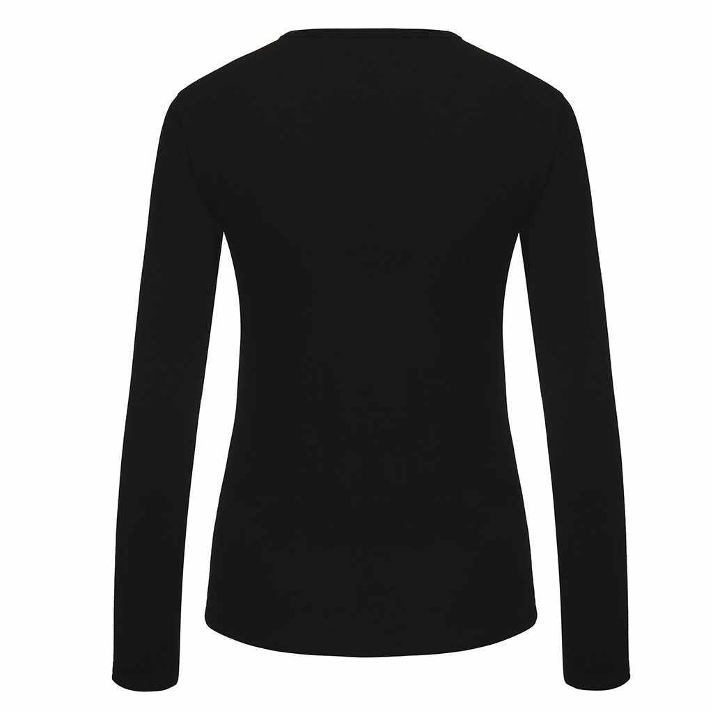 & 35 เสื้อผู้หญิงฤดูใบไม้ร่วง O เสื้อคอเสื้อ Solid PLUS ขนาดเสื้อแขนยาวผ้าตาข่ายเพชรเสื้อลำลอง blusas mujer de Moda 2019