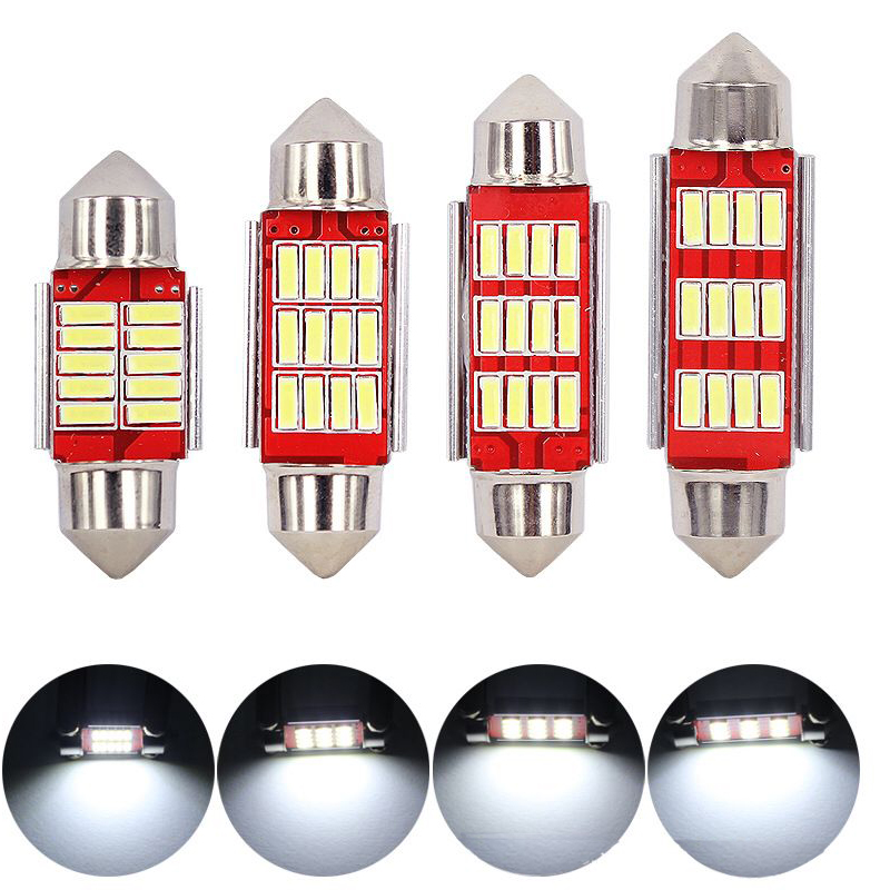 Festoon 31mm 36mm 39mm 41mm C5W CANBUS NO Error Auto Light 12 SMD 4014 LED Car Interior Dome Lamp Reading Bulb White DC12V