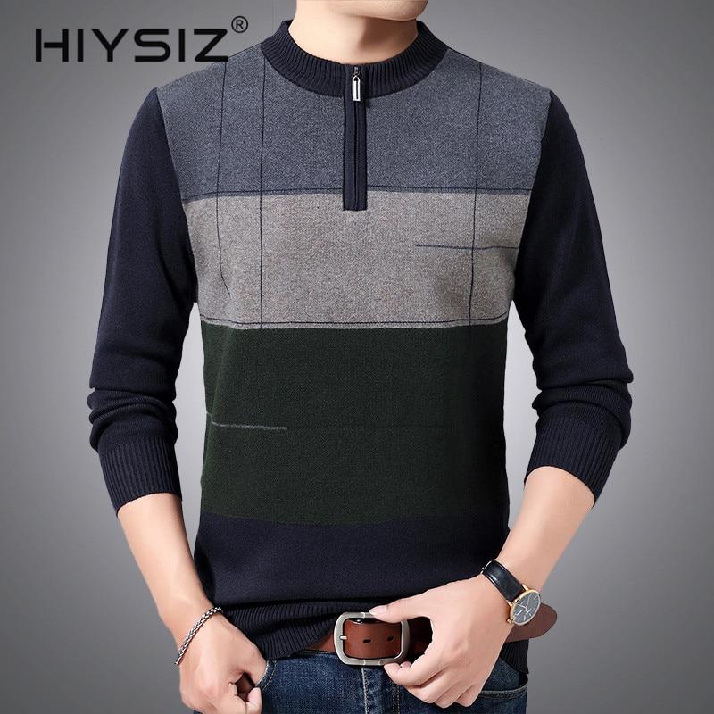 HIYSIZ Brand 2019 Streetwear Winter Autumn Knit pull Sweater Men Trend O-Neck Pull Homme Casual Men Stripe Clothes H3019