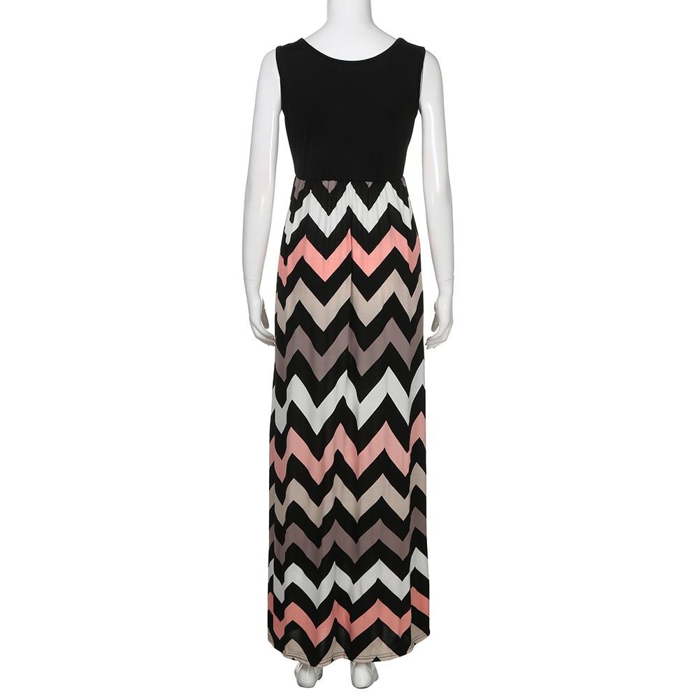 Women Dress Summer Striped Design Long Boho Dress Lady Sleeveless Beach Autumn Sundress Maxi Dress Female