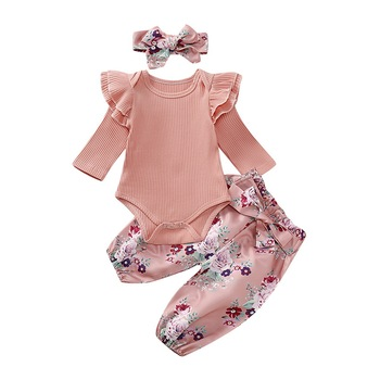 Newborn Baby Girl Romper Bodysuit cotton infantil baby girl clothes long sleeve Tops+Pants Headband 3pcs Outfits Clothes Set D25 new baby boy clothing set summer baby cotton bodysuit elephant printed romper animal bibs 3pcs set newborn baby girl clothes
