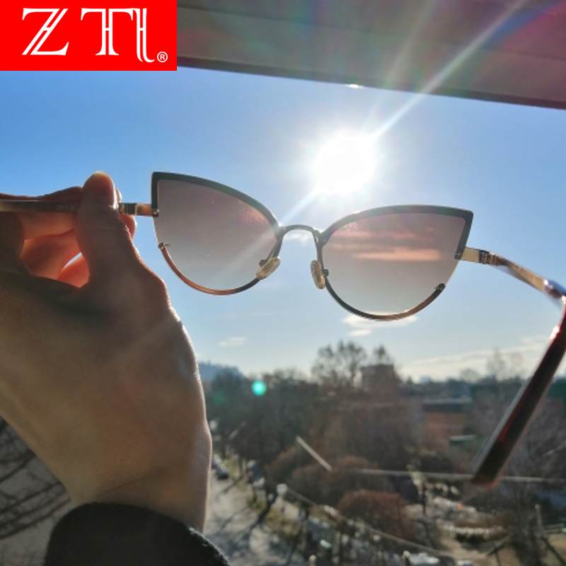 ZT Metal Half Frame Sunglasses Women Cat Eye Titanium Candy Color Clear Red Blue Yellow Polarized Sun Glasses