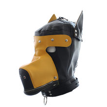 Fetish Gay Puppy Mask Hood BDSM Dog Slave Leather Bondage Restrict Headgear Hoods Sex Tools for Men Women Sex Shop Accessories(China)