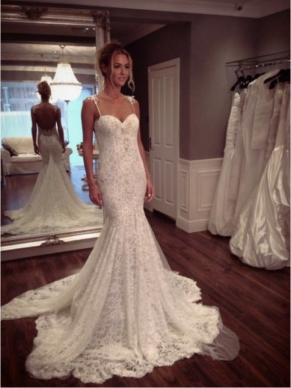2018 Vintage Sexy Backless Sweetheart Applique Lace Mermaid Custom Bridal Gown Vestido De Noiva Mother Of The Bride Dresses