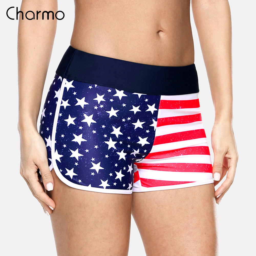 Charmo Women Swimshorts American Flag Beach Shorts Swimwear Briefs Ladies Swimsuits Trunks Beach Shorts Swimming Trunks