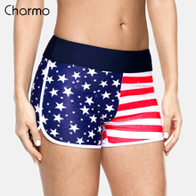Charmo Women Swimshorts American Flag Beach Shorts Swimwear Briefs Ladies Swimsuits Trunks shorts swimming trunks