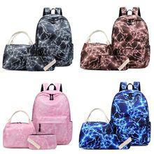 3pcs Nylon Backpack School Laptop Daypack Teenage Schoolbag Bookbag Set Lunch Bag Purse for Girls Boys