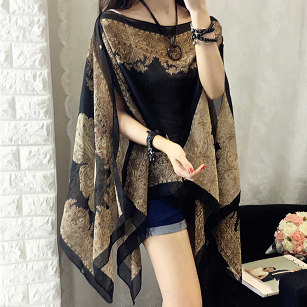 Summer Woman Chiffon Fabala Flower Shawl Loose Cover Ups Long Sleeve Shirts Thin Plus Size Scarf Blouses Sun Protection Shawl