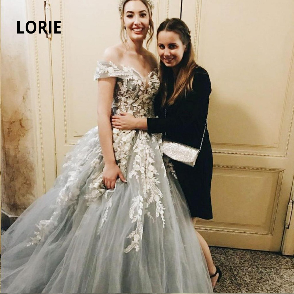 LORIE Elegant Lace  Off  Shoulder Wedding Dress 2019 Long Appliques Back Lacing Ball Gown Bride Gowns Plus Size Vestido De Noiva