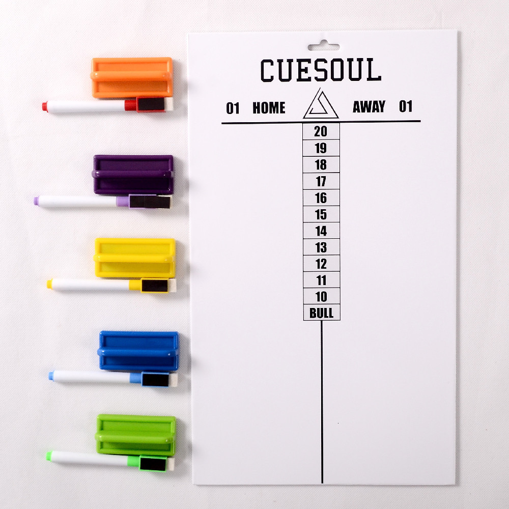 CUESOUL Professional Dart Scoreboard Wipe Clean With 1pcs Marker And 1pcs Eraser 5 Colors