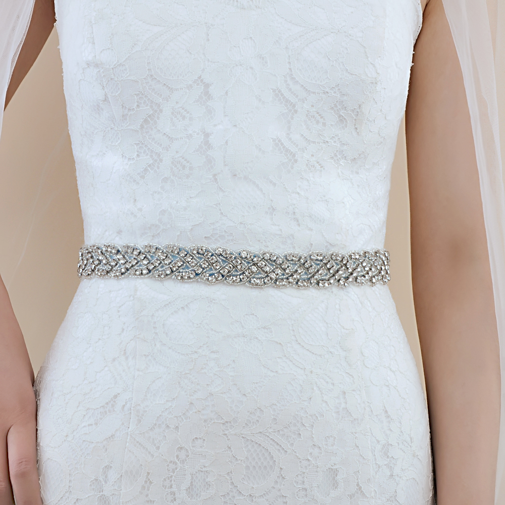 TRiXY S216 Stunning Crystal Wedding Belts Rhinestone Wedding Dress Belt Wedding Accessories Bridal Ribbon Sash Bridal Belt