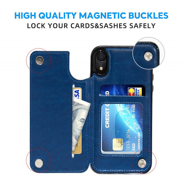 Retro PU Flip Leather Case For iPhone 12 Mini 11 Pro Max XS Multi Card Holder Phone Cases For iPhone X 6 6s 7 8 Plus SE 2 Cover 3