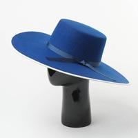 Autumn Winter Wool Hats for Wome Bow Flat Top Wide Brim Felt Hat Women Fedora Hats Wedding Hats and Fascinators Derby Cap