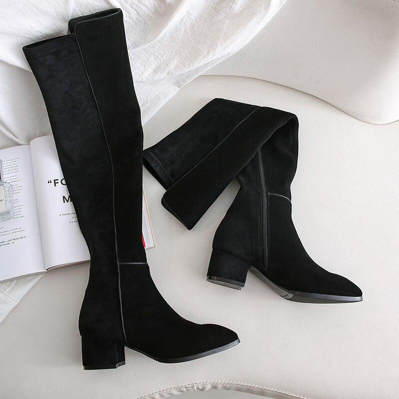 Spitz Oberschenkel Hohe Stiefel Aus Echtem Leder 5cm Quadratische Fersen Über den Knie Rohr Lange Stiefel Frauen Winter Schuhe LDI18 MUYISEXI - 4