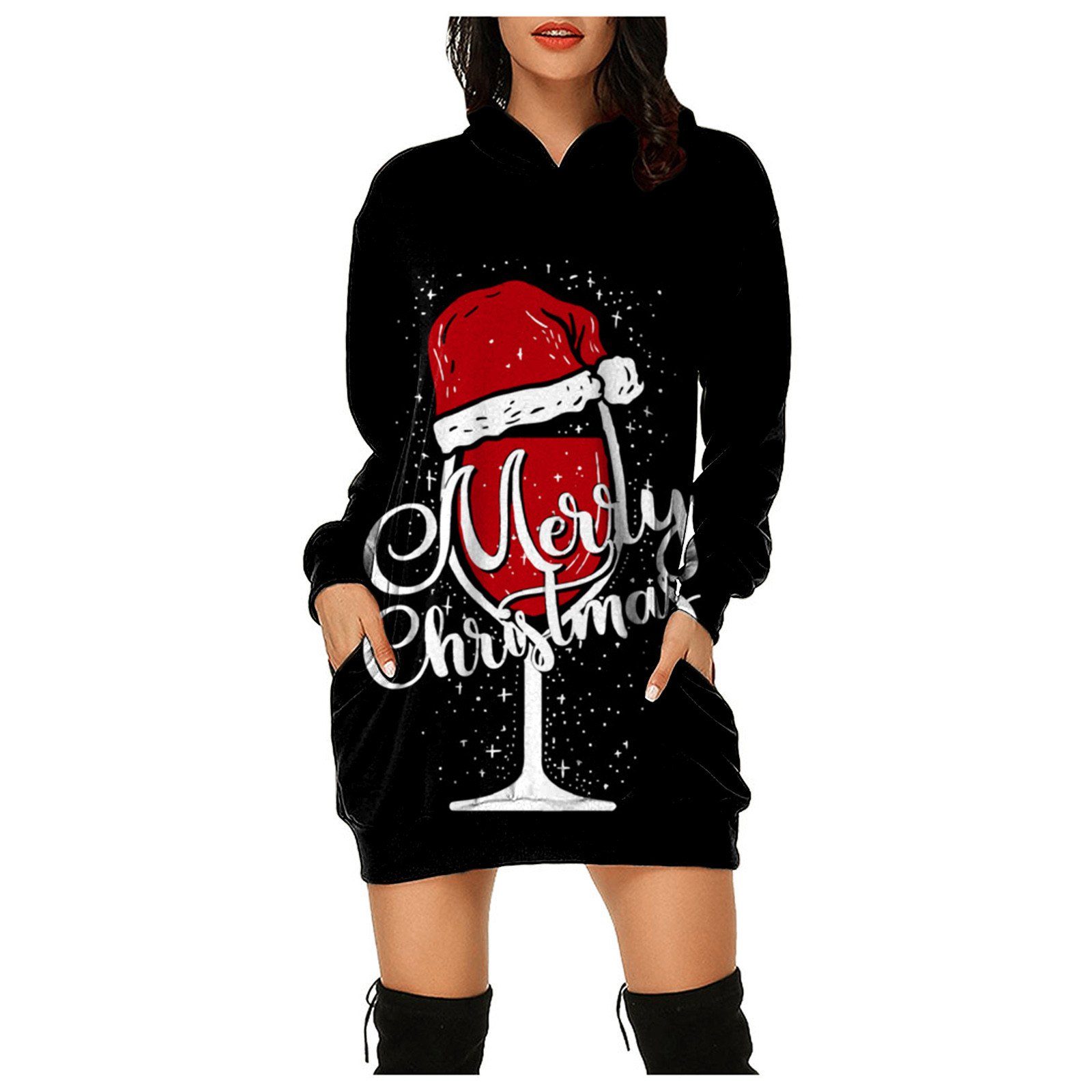 Permalink to Women's Fashion Christmas Vestido Hoodie Bag Hip Pocket Print Hoodie Fashion Dress Sexy Ladies Tight Bag Hip Vestido Платье