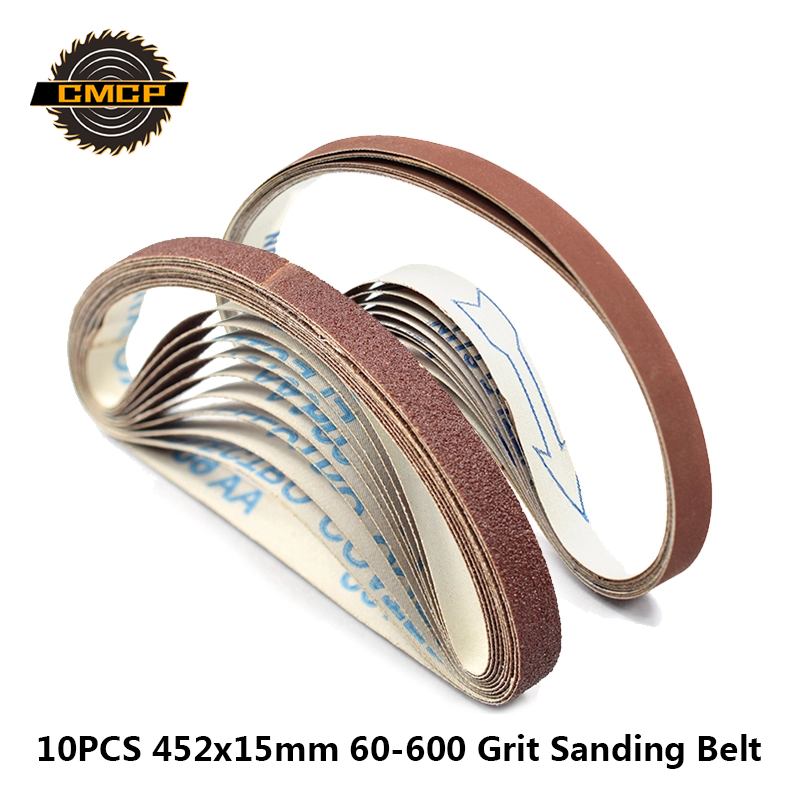 10pcs 452x15mm Sanding Belt 60/120/240/400/600 Grit Abrasive Sanding Belt For Angle Grinder Machine Dremel Sanding Bands