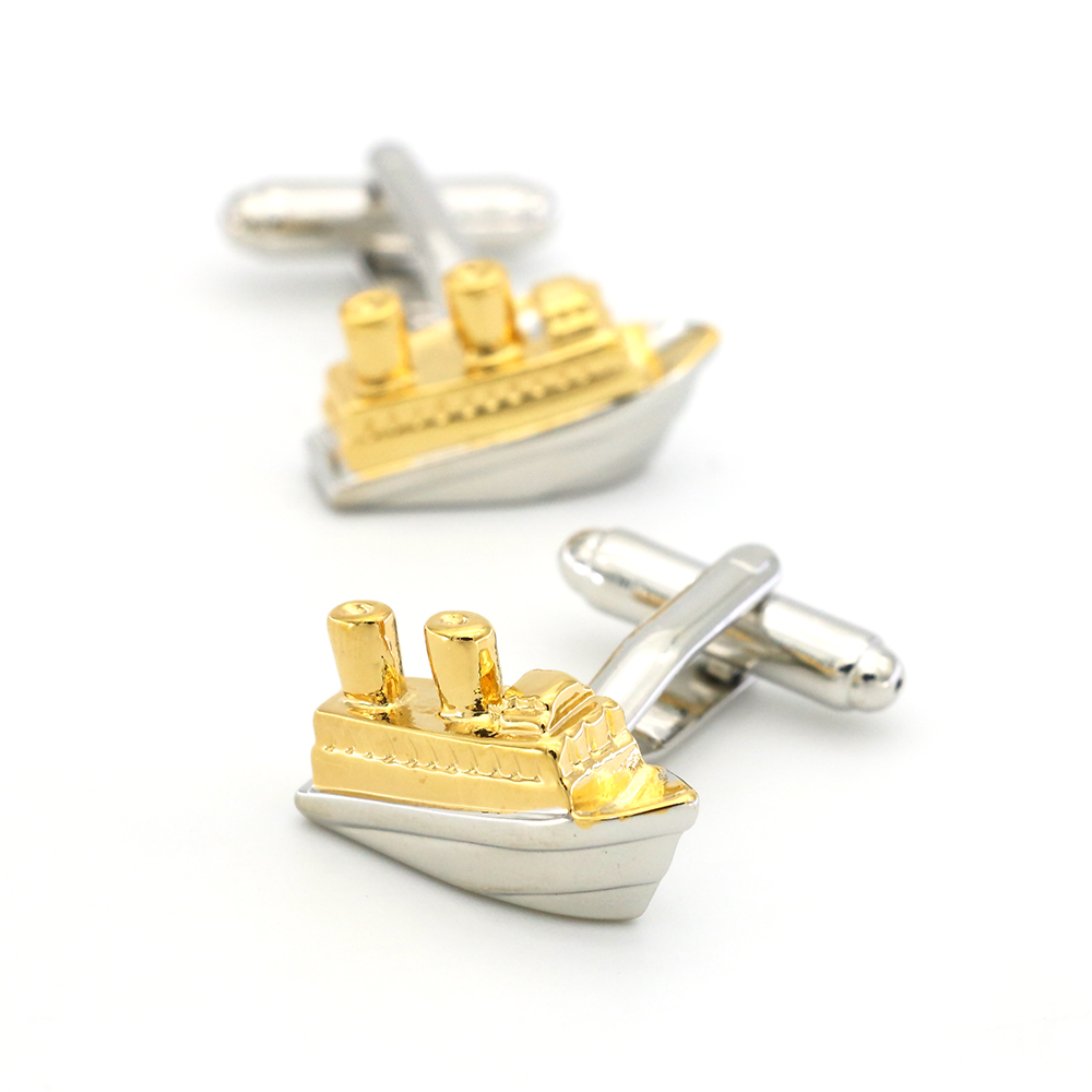 Titanic Design Cruise Ship Cufflinks Quality Brass Material Golden Color Cuff Links Wholesale&retail