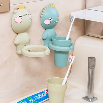 Uchwyt na szczoteczkę do zębów dla dzieci półka do zawieszenia na ścianie kubek do płukania ust kreskówka zestaw do mycia zębów zestaw łazienkowy tanie i dobre opinie houseeker 180 250 ml 7-12m 13-24m 25-36m CN (pochodzenie) Naczynia do picia Babies GL537Z W stylu rysunkowym