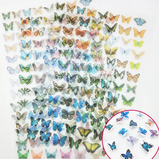 90Pcs/Sheet 3D Colorful Butterfly Heat Shrink Handmade Resin Nail Art Decorations DIY Crafts Jewelry Making Accessory