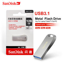 SanDisk 128GB USB3.1 Flash Drive 64GB Pen Drive 32GB Memori Stick 256GB U Disk Logam USB kunci untuk Laptop/Tablet/TV/Mobil/PC 150 MB/Detik(China)