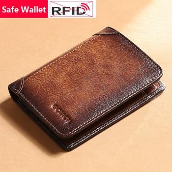 Estilo Retro RFID Bloqueo de cuero genuino estilo corto hombres billetera segura pequeño bolso masculino de cuero de moda tarjetero regalo elección