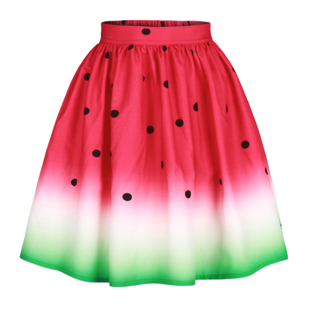 High Waist Watermelon Skirt Women Retro Vintage 3D Print Pleated Long Loose Midi Skirt Puffy Ball Gown Ladies Casual Skirts