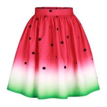 High Waist Watermelon Skirt Women Retro Vintage 3D Print Pleated Long Loose Midi