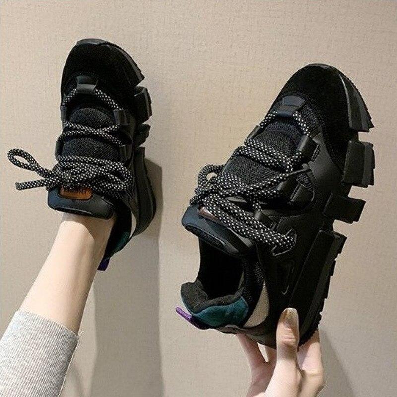 Ulzzang/2020; Модные женские кроссовки на массивной платформе; черные спортивные дышащие туфли для папы; Весенняя женская повседневная обувь на ш...