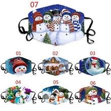 Unisex wielokrotnego użytku świąteczne maski imprezowe Snowman 3D drukowane śmieszne maski z filtrami kobiety mężczyźni pyłoszczelna Masque oddychająca tanie tanio CN (pochodzenie) Poliester