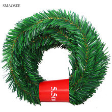5.5メートルお祝いパーティー籐diy花輪クリスマス装飾花輪クリスマスパーティードロップオーナメントトップの2021クリスマスの装飾ホーム