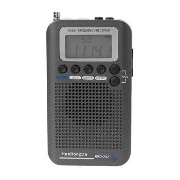 HRD-737 Digital LCD Display Full Band Radio Portable FM/AM/SW/CB/Air/VHF World Band Stereo Receiver Radio with Alarm Clock D08A