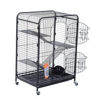 【USA Warehouse】37 4 Level Indoor Portable Pet Habitat Small Animal Cage Kit With Mesh Shelves And Ramps Black