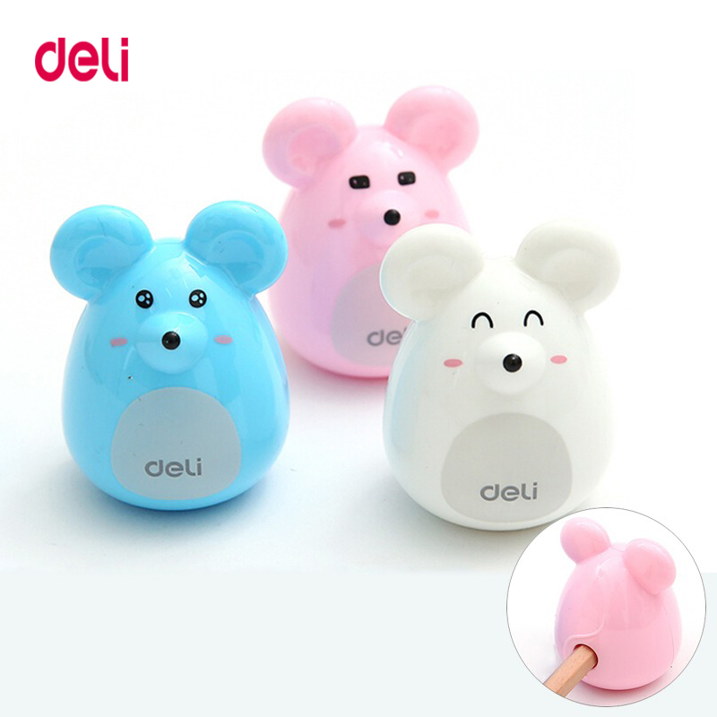 Deli Cute Kawaii Lovely Plastic Mouse Manual Pencil Sharpener Creative Stationery Gifts For Kids School Supplies