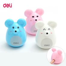 Deli Cute Kawaii Lovely Plastic Mouse Manual Pencil Sharpener Creative Stationery Gifts For Kids School Supplies deli 0665 magic pencil sharpener machanical school stationery rudder sharpener sweet hand roll kids cute gift brands