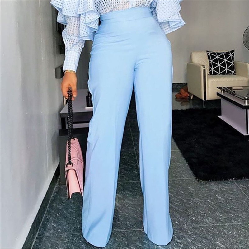 Women Pants Wide Leg Trousers High Waist Office Lady with Zipper Elegant Classy Female Autumn All Match Bottoms African Fashion