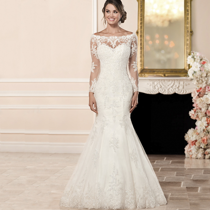 2019 robe de mariée à manches longues Illusion dos bateau cou Court Train dentelle Applique vestido de casamento vestido de noiva sereia