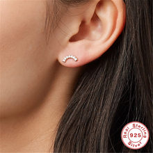 ROXI 925 Sterling Silver Rainbow CZ Stud Earrings for Women Ear Stud Tiny Cubic Zircon C Shaped Geometric Earring Korean Jewelry(China)
