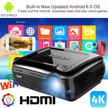 4K WiFi 1080P Android 6.0 Wireless LED Video Projector Home Theater Cinema 3200LM 3D