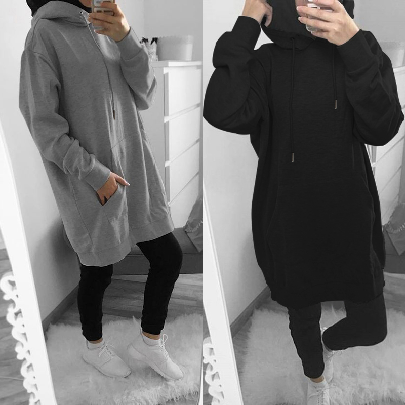ZANZEA Women Long Sleeve Hoodies Sweatshirts Pullovers 2020 Fashion Long Hooded Loose Pockets Sweatshirt Sudadera Mujer Oversize