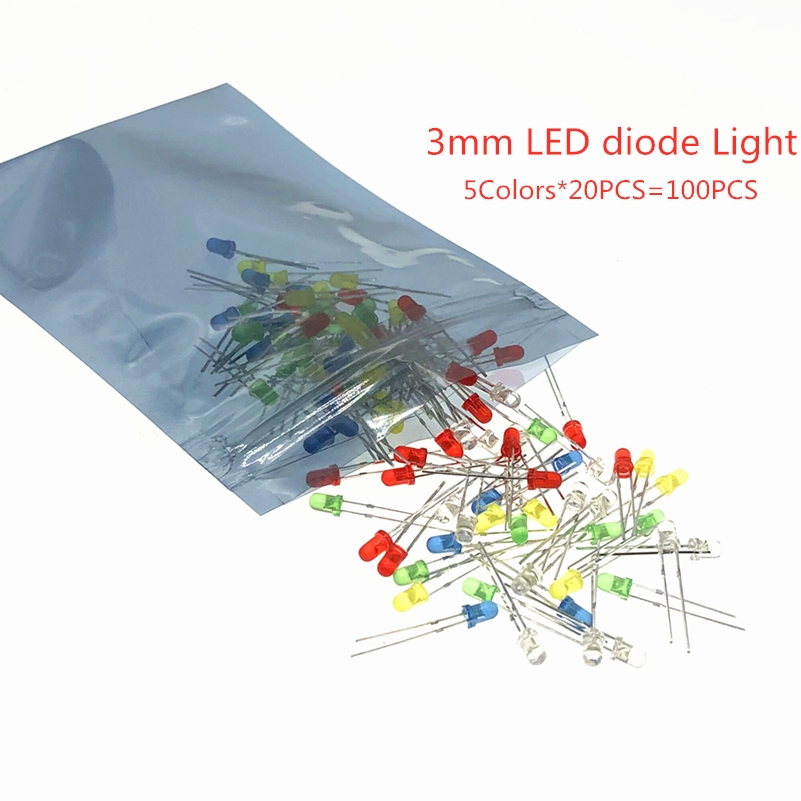 100Pcs 3mm F3 LED Light White Yellow Red Green Blue Assorted Kit DIY LED Set