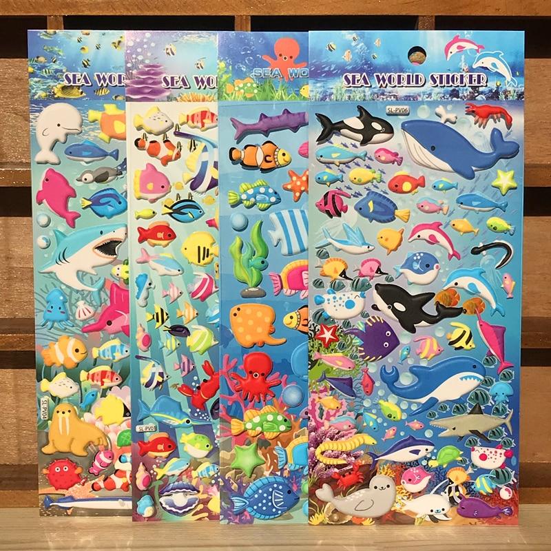 4pieces 3d Cute Underword Fish Anime Laptop Stickers Toy For Children Ocean Fish Stiker Animal Kids Boy Girl Rewards Sticker