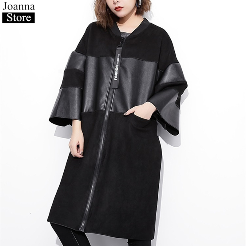 Autumn Women Pu Leather Spliced Long Seven-Quarter Sleeve Jacket Round Neck Oversized Black Casual Office Ladies Zipper Clothes