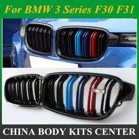 1 para: połysk/czarny matowy nerek maskownica do bmw F30 F31 3 serii ABS materiał wymiana Car Styling 2012 + 328i 330i 335i w Kratki wyścigowe od Samochody i motocykle na