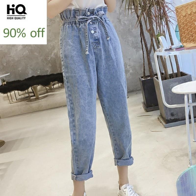 2020 New High Waist Lace Up Ankle Length Jeans Woman Preppy Style Elastic Waist Boyfriend Harem Jeans Street Wide Leg Denim Pant