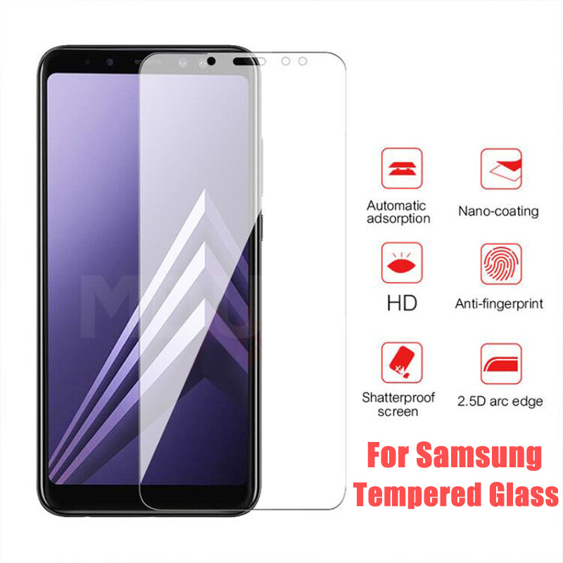 9H Anti-Burst Protective Glass For Samsung Galaxy J2 J3 J7 J8 A9 A6 A8 J4 J6 Plus 2018 Tempered Screen Protector Glass Film Case
