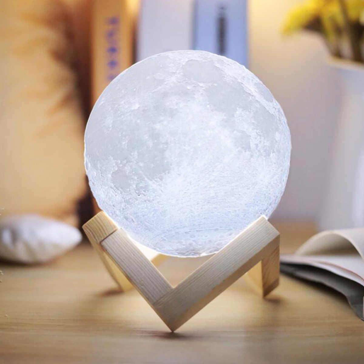 Nowy lampa wydruk 3d księżyc USB akumulator 2 kolorowe sterowanie dotykowe nietypowe oświetlenie regulowana lampa księżycowa Home Decoration