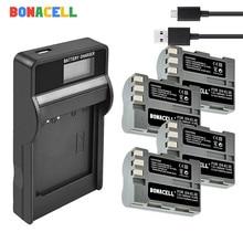 BONACELL EN-EL3e EN EL3a ENEL3e Camera Battery + LCD Charger Replacement for Nikon D300S D300 D100 D200 D700 D70S D80 D90 D50 dual 45 degree split image focus focusing screen for nikon d80 d90 d200 d300 d300s d7000 d7100 d7200 pr126