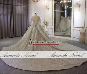 Image 3 - 2020 두바이 럭셔리 웨딩 드레스 긴 소매와 무거운 구슬 신부 드레스 100% 진짜 작업 고품질