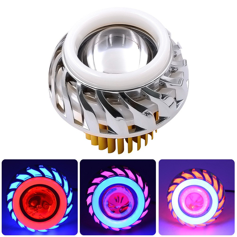 12-85V Motorcycle LED Headlights Helical Circle Dual Lens Angel Eye Devil Eye Motorcycle Headlamp 30W 1200LM
